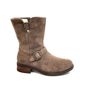 UGG Brown Suede Midcalf Zip Up Boots w/ Buckles